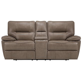 Clint Dk Beige Leather & Vinyl Reclining Console Loveseat