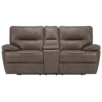 Clint Dk Taupe Leather & Vinyl Power Reclining Console Loveseat