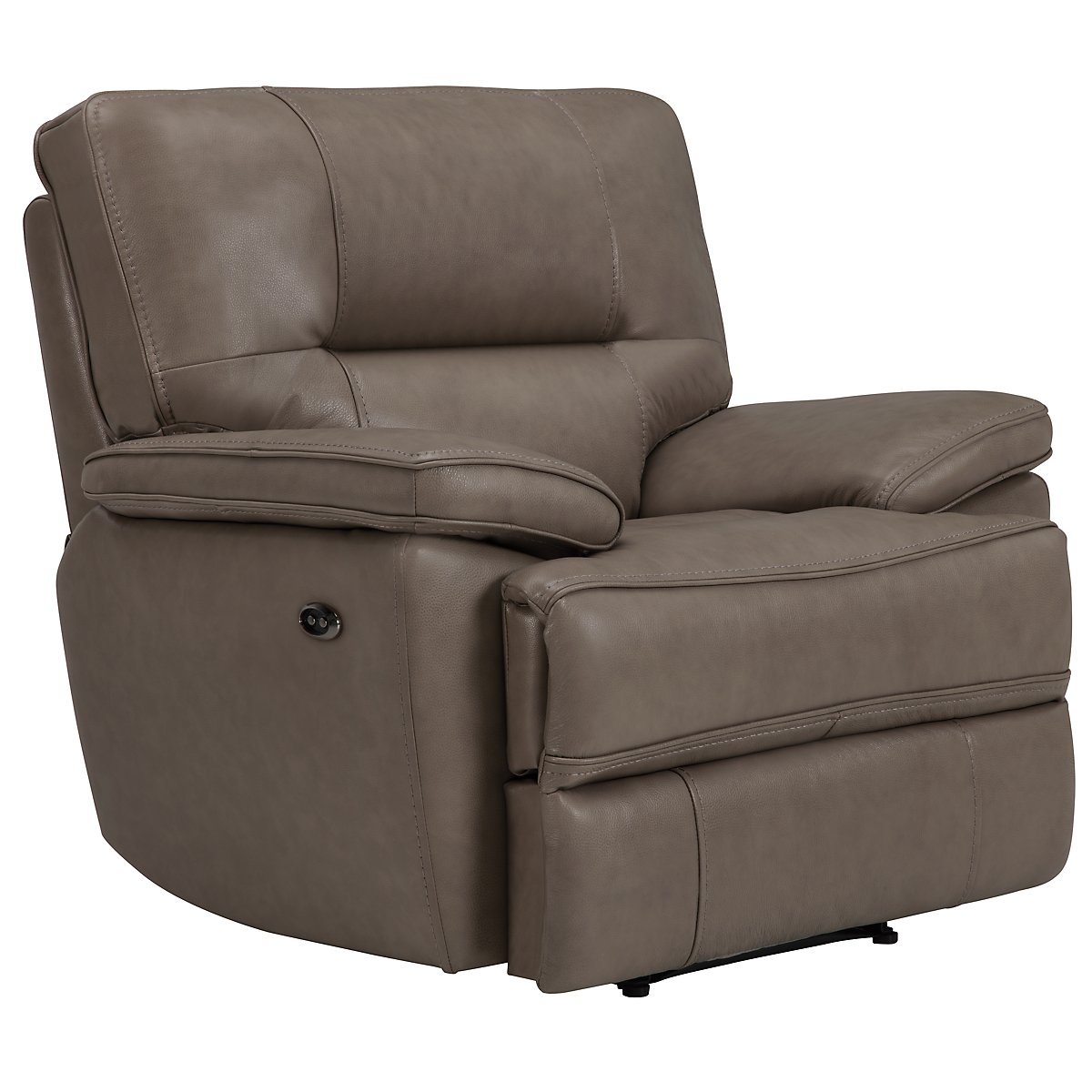 Clint Dk Taupe Leather & Vinyl Power Recliner
