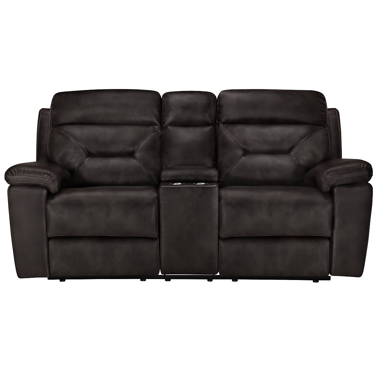 Phoenix Dark Gray Microfiber Power Reclining Console Loveseat