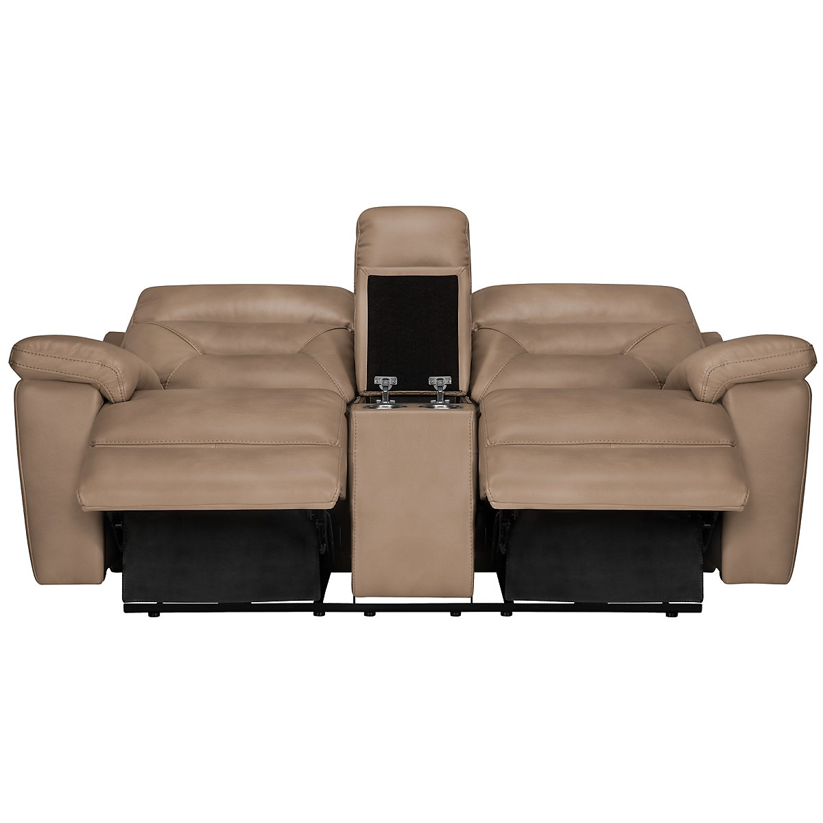 City Furniture Phoenix Dk Beige Microfiber Manually Reclining Living Room