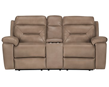 Phoenix Dark Beige Microfiber Power Reclining Loveseat