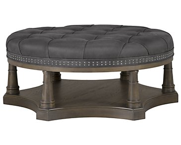 Belgian Oak Light Tone Leather Cocktail Ottoman
