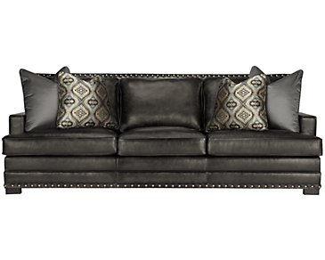 Cantor Dark Gray Leather Sofa