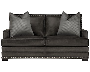 Cantor Dark Gray Leather Loveseat