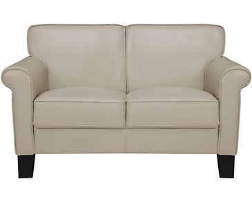 Kaila Beige Leather Loveseat