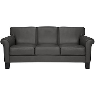 Kaila Dk Gray Leather Sofa