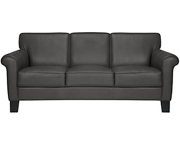 Kaila Dark Gray Leather Sofa