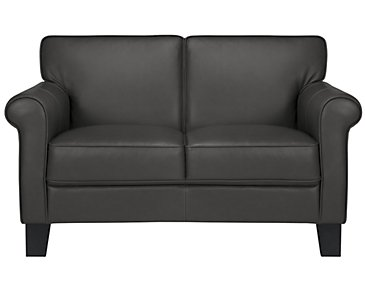 Kaila Dark Gray Leather Loveseat