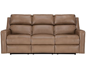 Rocco Dark Taupe Microfiber Power Reclining Sofa
