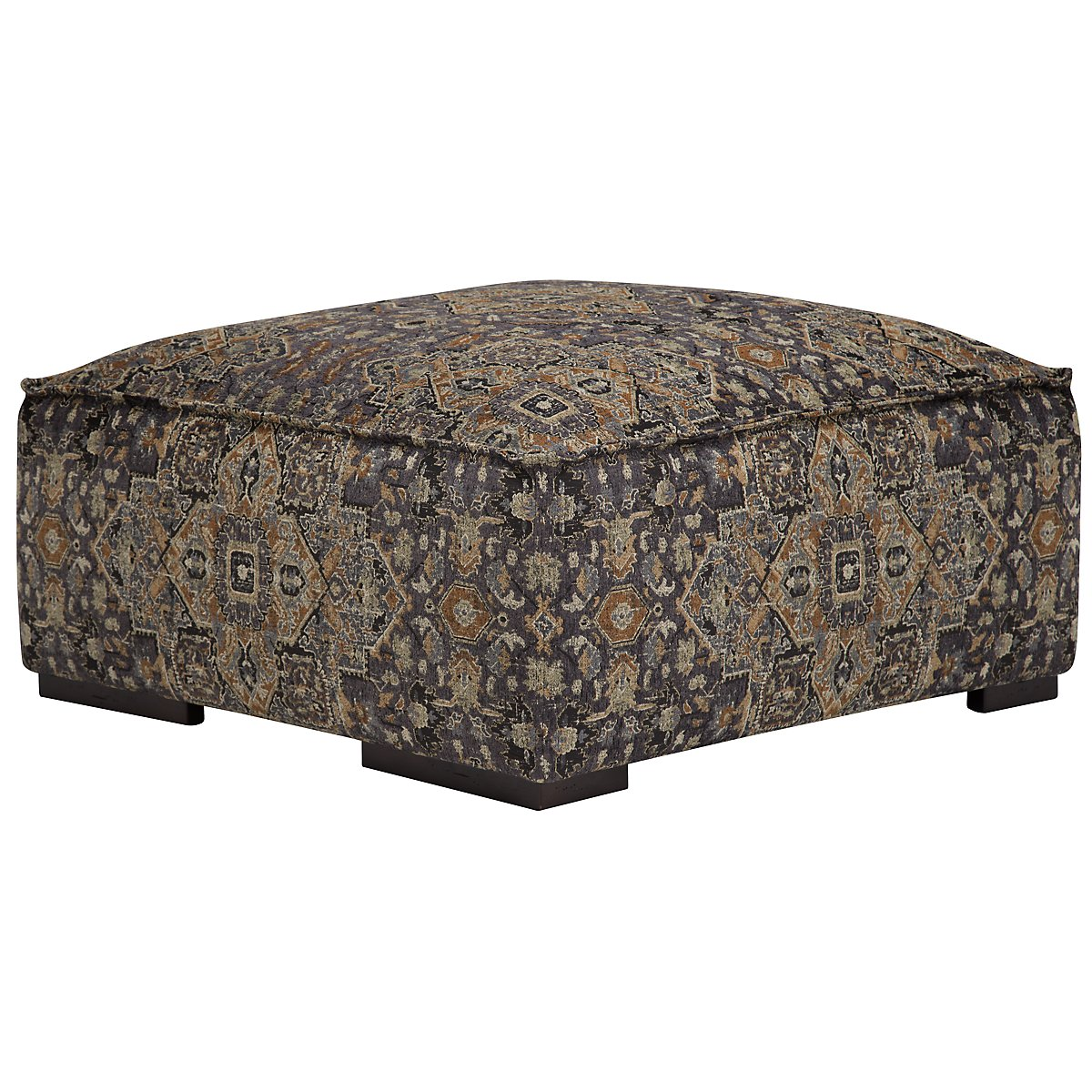 Asher Dk Blue Fabric Cocktail Ottoman