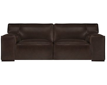 Asher Dark Brown Leather & Vinyl Sofa