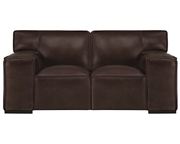 Asher Dark Brown Leather & Vinyl Loveseat
