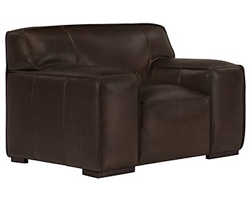 Asher Dark Brown Leather & Vinyl Chair