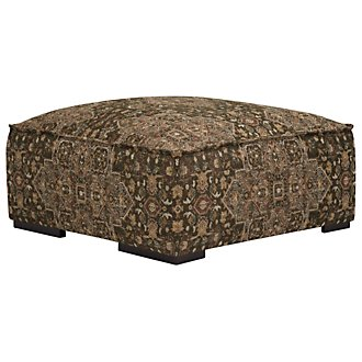Asher Dk Green Fabric Cocktail Ottoman
