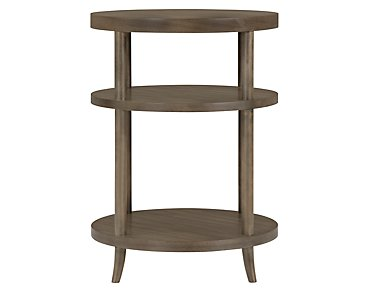 Preston Gray Round Nightstand