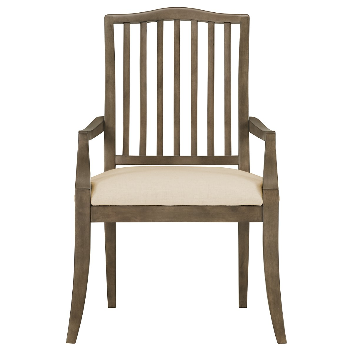 City furniture preston gray wood arm chair for Wood dining room chairs with arms