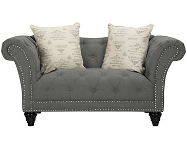 Hutton Dark Gray Fabric Loveseat