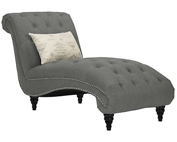 Hutton Dark Gray Fabric Chaise