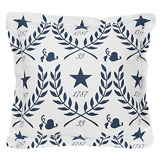 Star Dk Blue Fabric Square Accent Pillow