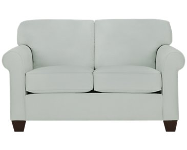 Corlis Light Blue Fabric Loveseat
