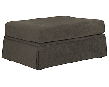 Hallie Dark Gray Fabric Ottoman
