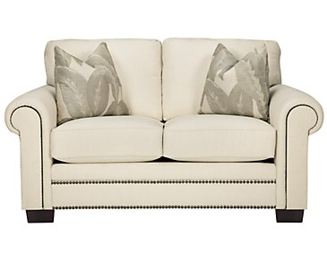 Erin White Fabric Loveseat
