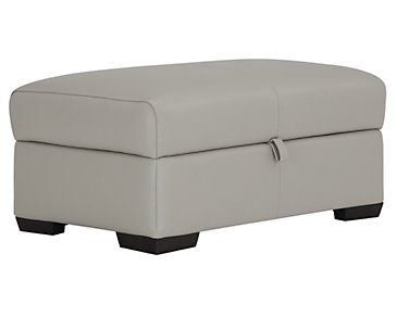 Alessi3 Light Gray Leather & Vinyl Storage Ottoman