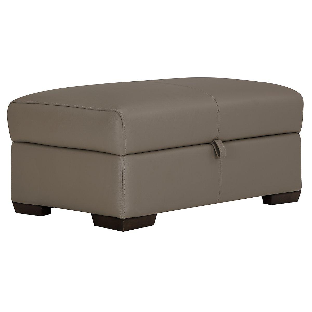 Alessi3 Dark Taupe Leather & Vinyl Storage Ottoman - City Furniture: Alessi3 Dk Taupe Leather & Vinyl Storage Ottoman