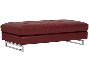 Athena Red Bonded Leather Ottoman