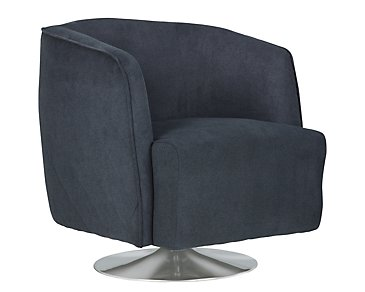 Baldwin Blue Microfiber Swivel Accent Chair