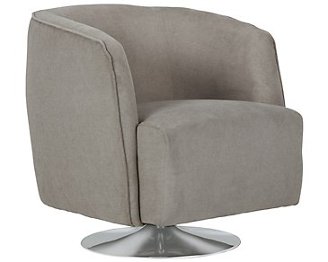 Baldwin Gray Microfiber Swivel Accent Chair