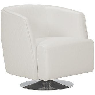 Loki White Microfiber Swivel Accent Chair
