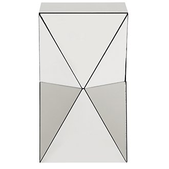 Glam Mirrored Geometric Chairside Table