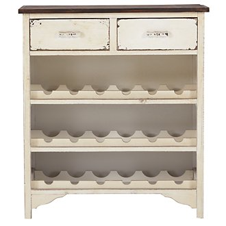 Pearl White Two-Drawer Wine Rack