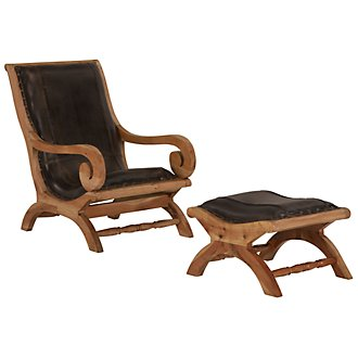 Ray Dark Brown Leather Chair & Ottoman