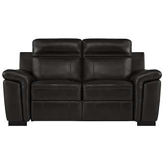 Albany Black Leather & Vinyl Power Reclining Loveseat