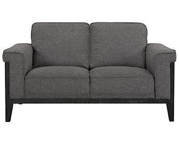 Harlan Dark Gray Fabric Loveseat