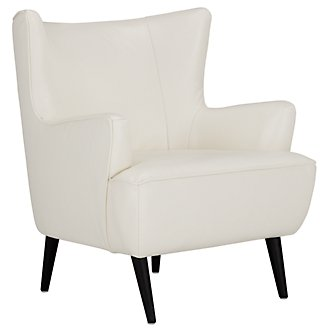 Zander White Leather Accent Chair