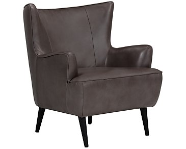 Zander Pewter Leather Accent Chair