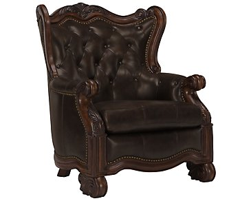 Regal Dark Tone Leather Accent Chair