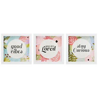 Good Vibes Multicolored Set Of 3 Framed Wall Art
