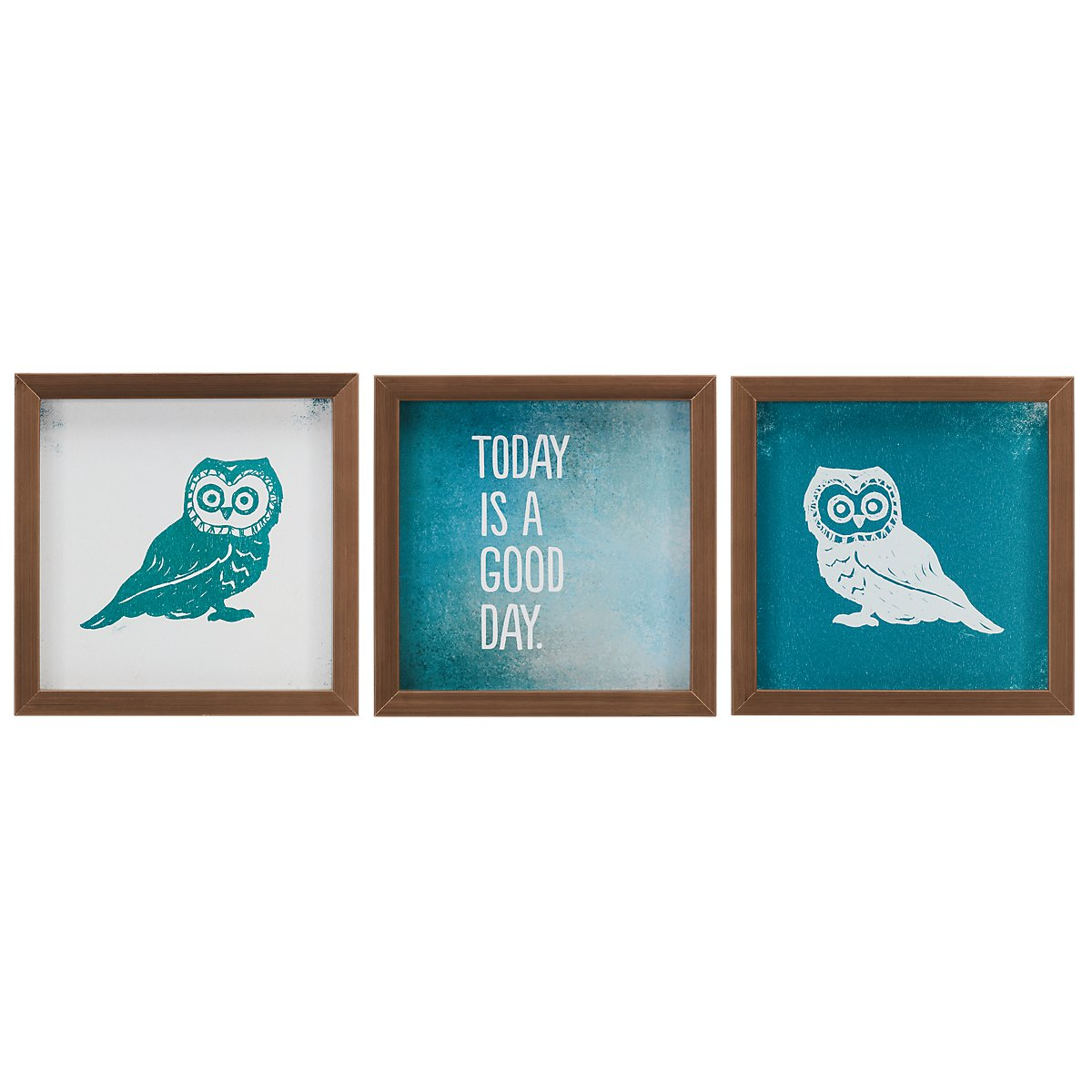 city furniture owl teal set of 3 framed wall art. Black Bedroom Furniture Sets. Home Design Ideas
