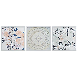 Summer Multicolored Set Of 3 Framed Wall Art