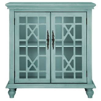 Alexis Teal Two-Door Cabinet