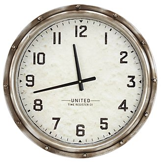 Humbolt Pewter Wall Clock