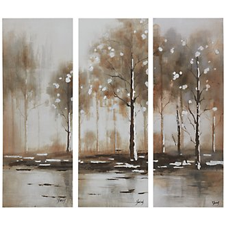 Trees Light Beige Set Of 3 Canvas Wall Art