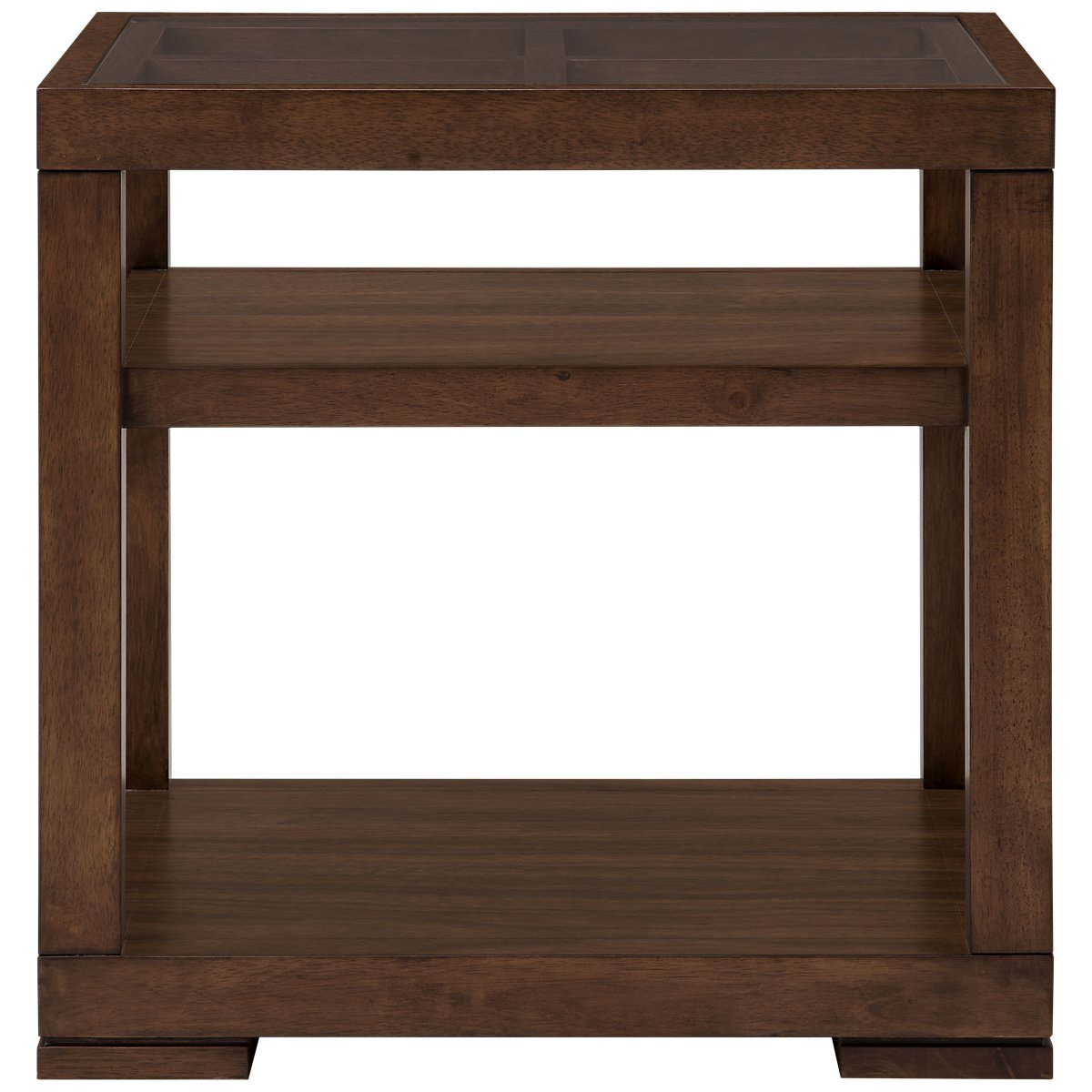 Savoy Mid Tone Glass Square End Table
