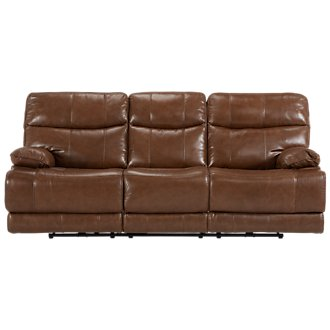 Liam Md Brown Leather & Vinyl Power Reclining Sofa