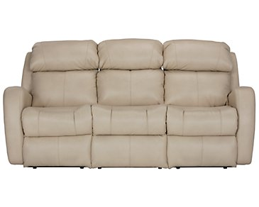 Finn Light Beige Microfiber Power Reclining Sofa
